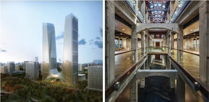 规模逾45万平方米的郑州二七新塔超高层项目和面积不到4500平方米的同济大学博物馆改造项目