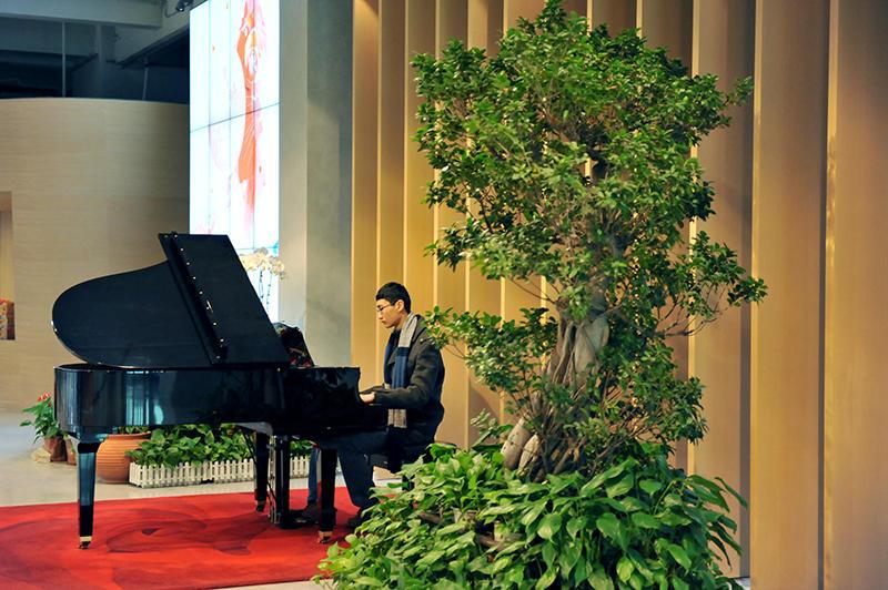 清脆悦耳的琴声从钢琴王子的手中流淌出来,萦绕在整个大堂