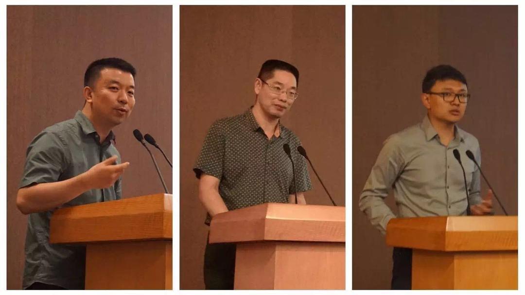 主持人:王桢栋(左),致辞人:华春荣(中),书籍介绍人:杜鹏(右)