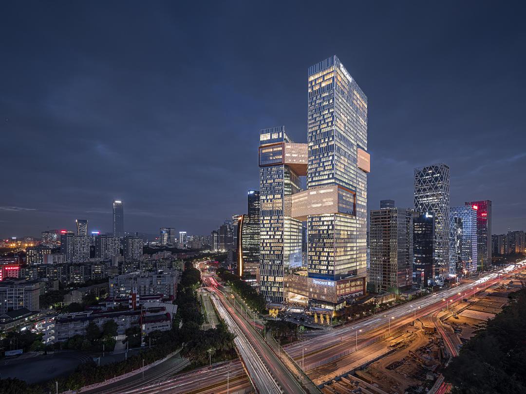 Tencent滨海大厦建成后夜景图